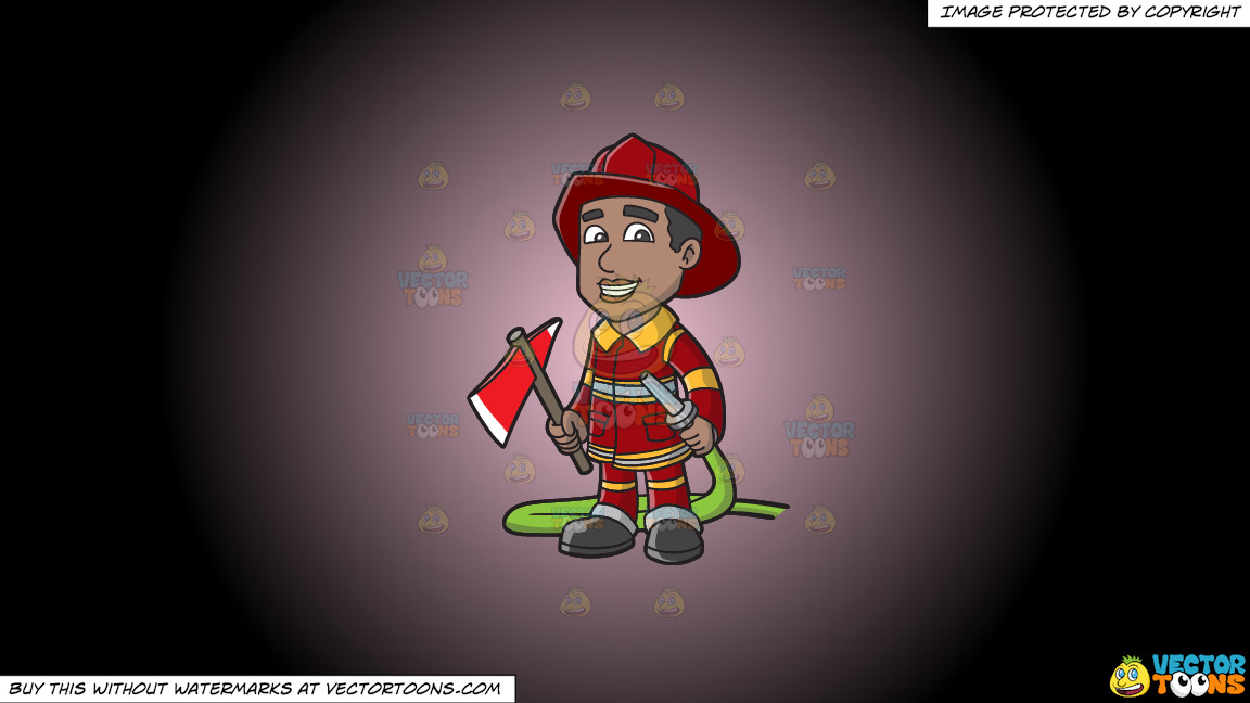 A Smiling Firefighter Holding A Fire Hose And An Ax On A Pink And Black Gradient Background thumbnail