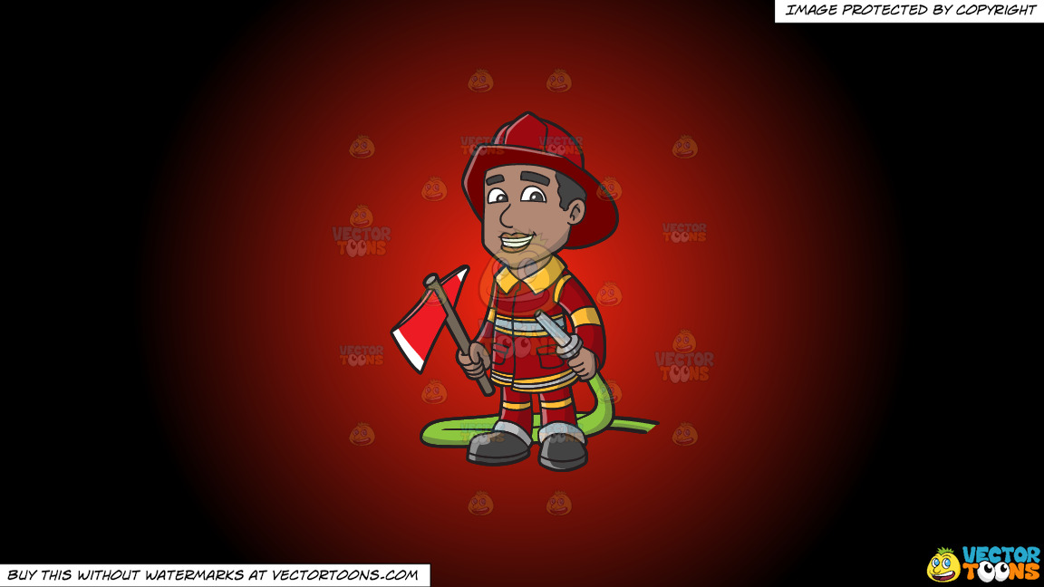 A Smiling Firefighter Holding A Fire Hose And An Ax On A Red And Black Gradient Background thumbnail