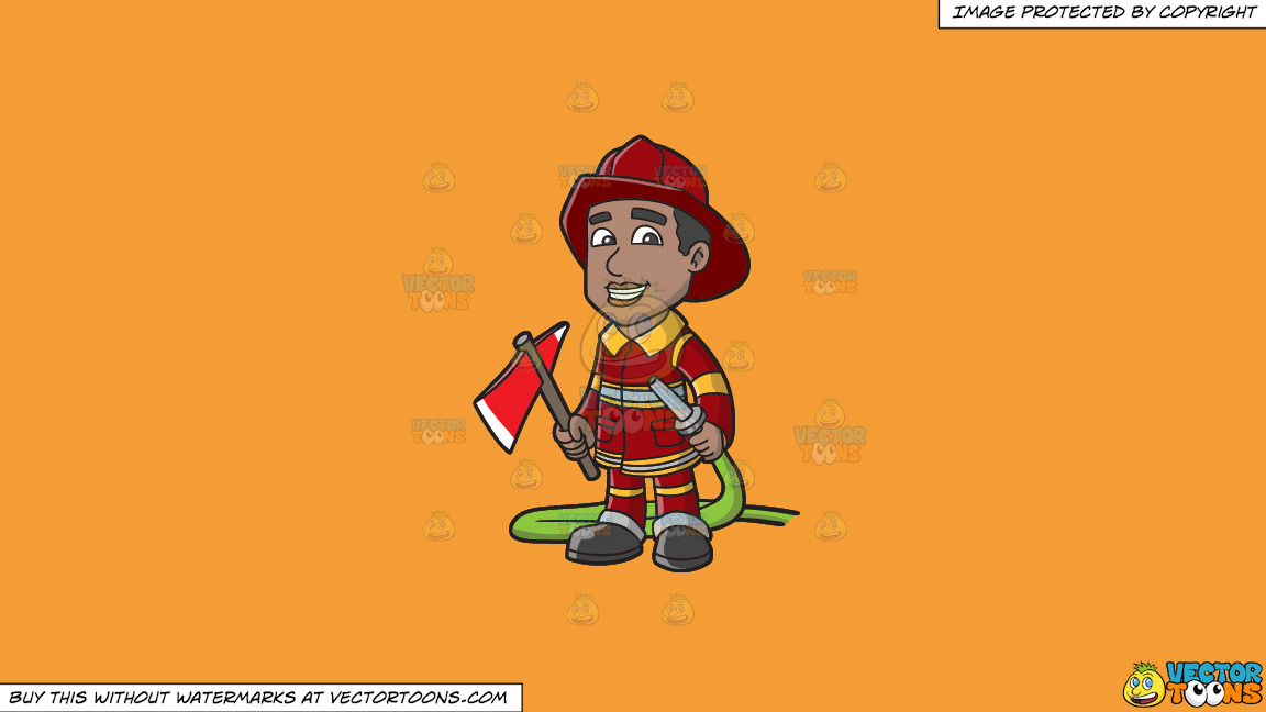 A Smiling Firefighter Holding A Fire Hose And An Ax On A Solid Deep Saffron Gold F49d37 Background thumbnail