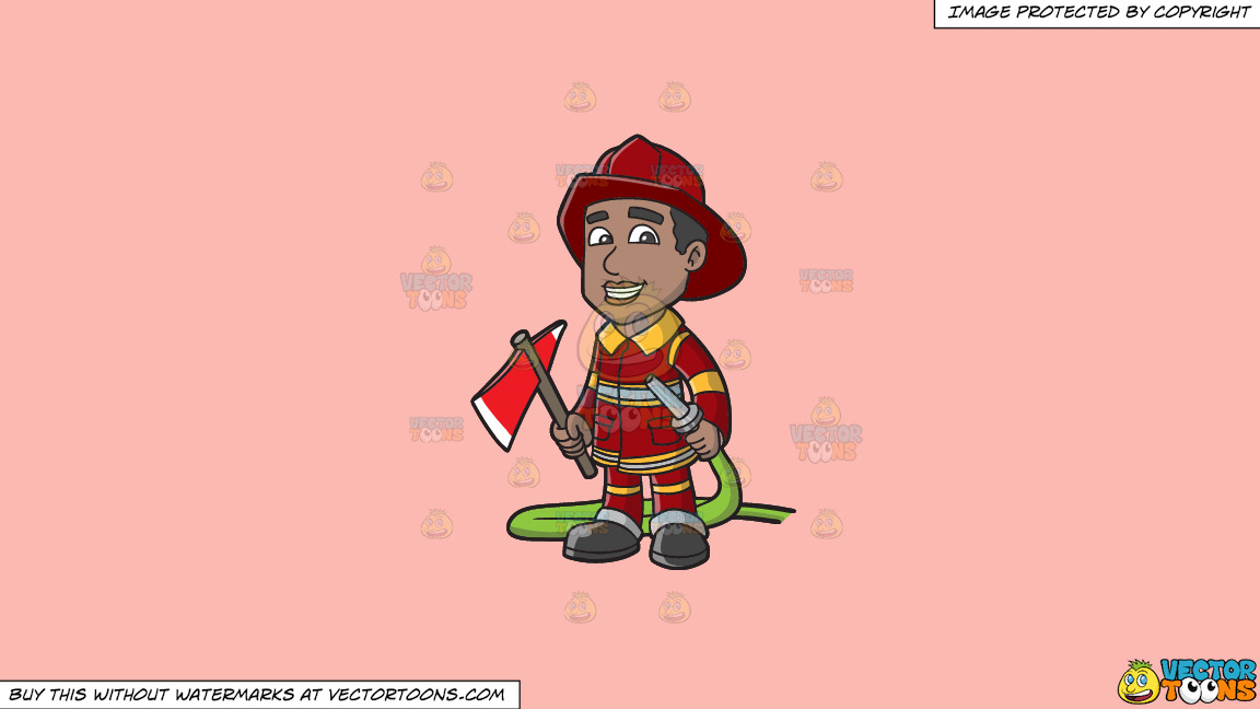 A Smiling Firefighter Holding A Fire Hose And An Ax On A Solid Melon Fcb9b2 Background thumbnail