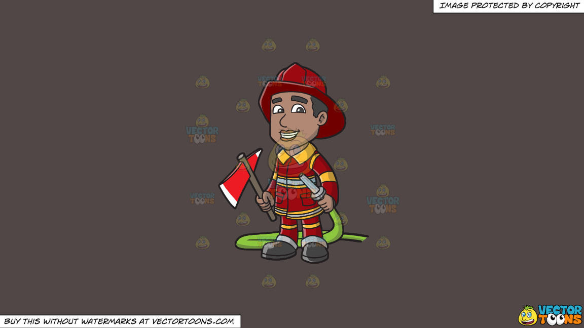 A Smiling Firefighter Holding A Fire Hose And An Ax On A Solid Quartz 504746 Background thumbnail