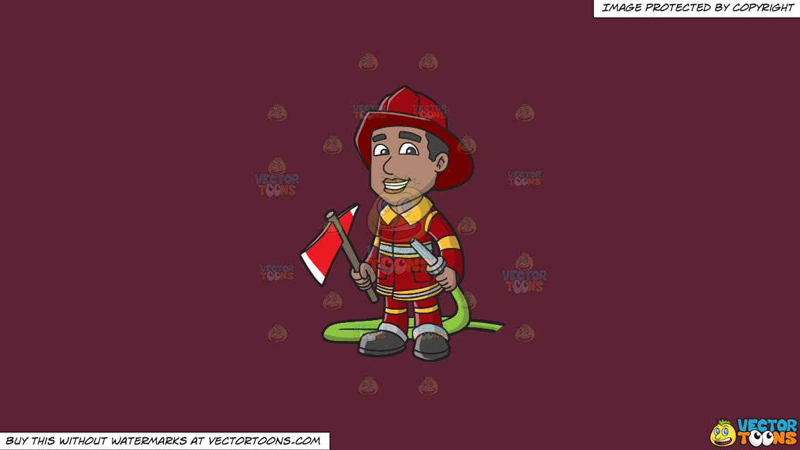 A Smiling Firefighter Holding A Fire Hose And An Ax On A Solid Red Wine 5b2333 Background thumbnail