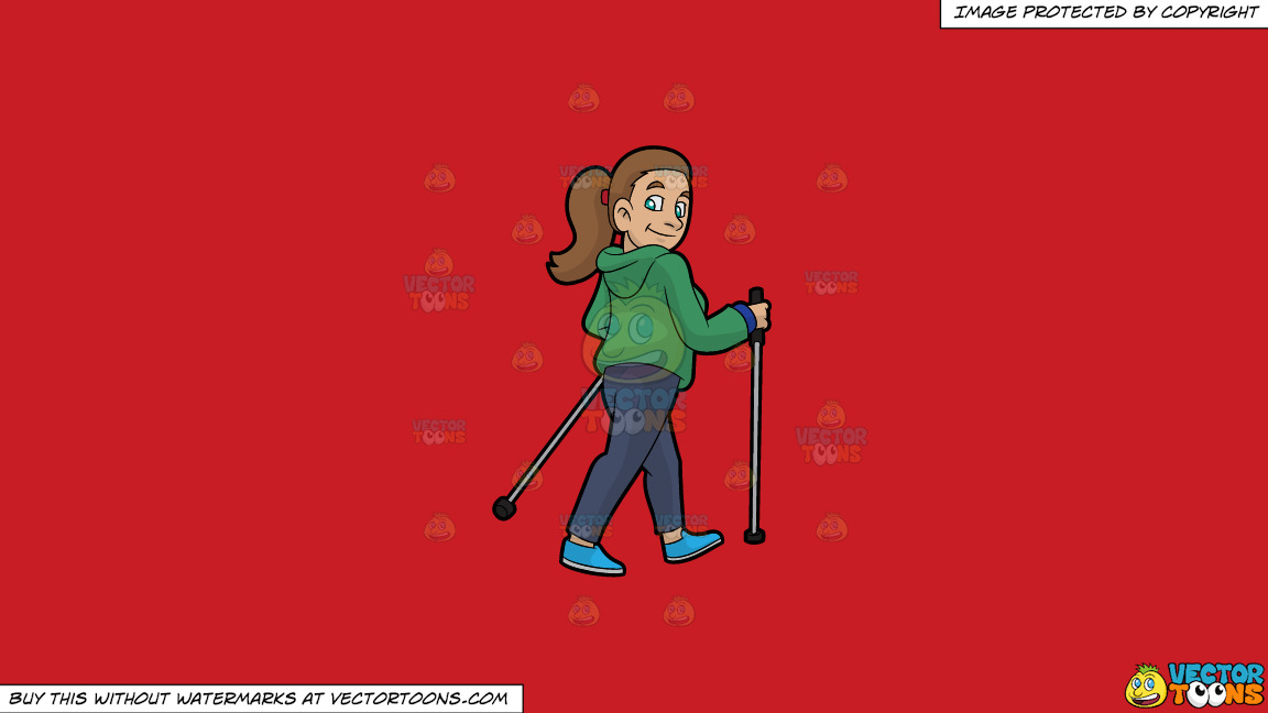 A Smiling Woman Nordic Walking On A Solid Fire Engine Red C81d25 Background thumbnail