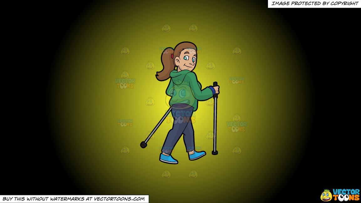 A Smiling Woman Nordic Walking On A Yellow And Black Gradient Background thumbnail