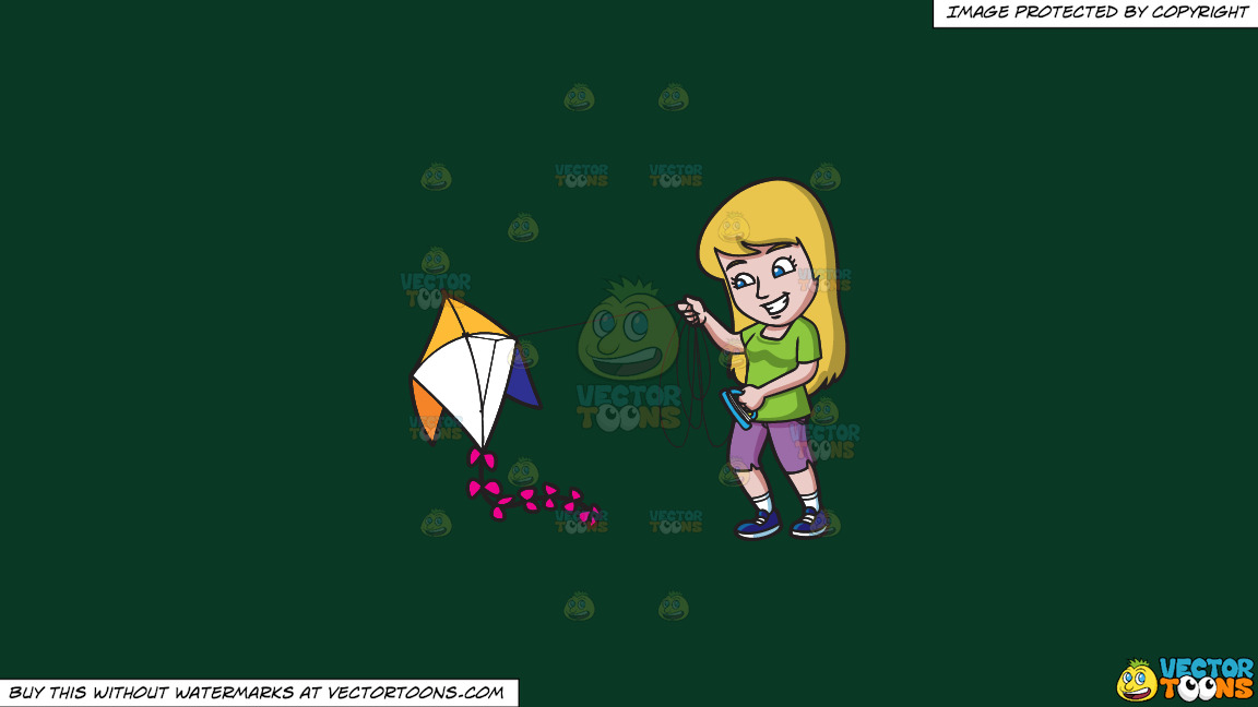 A Smiling Woman Prepares To Fly Her Kite On A Solid Dark Green 093824 Background thumbnail
