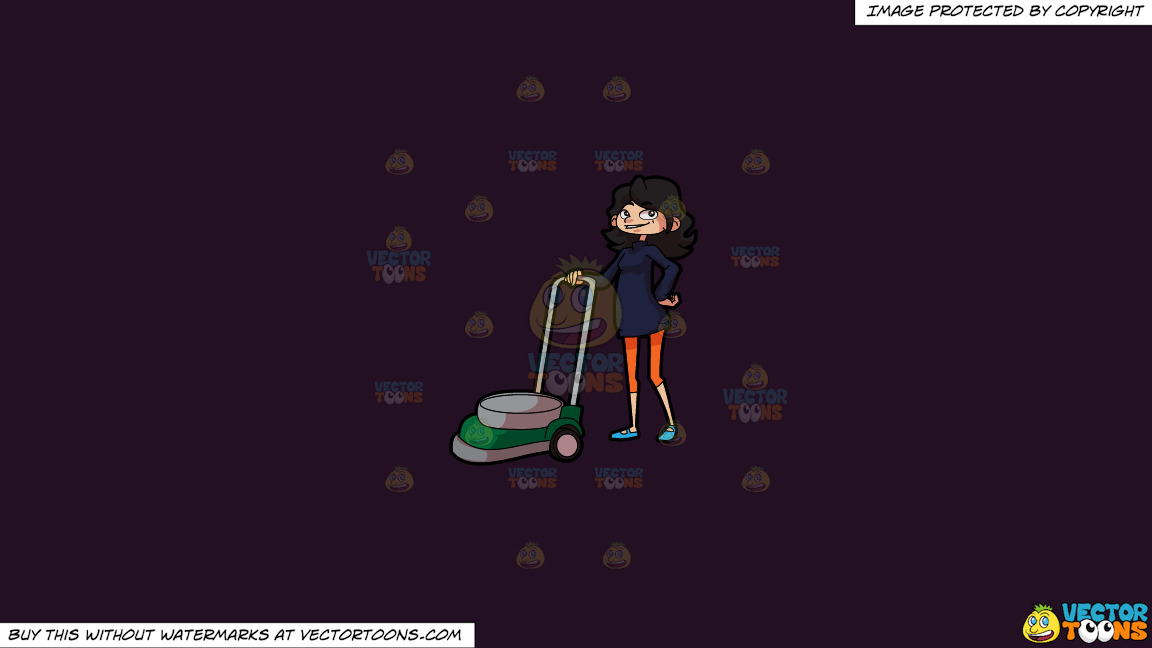 A Smiling Woman With Her Lawn Mower On A Solid Purple Rasin 241023 Background thumbnail