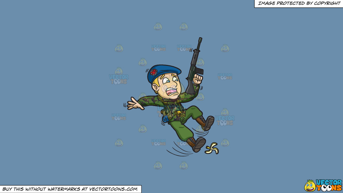 A Soldier Slipping On A Peel On A Solid Shadow Blue 6c8ead Background thumbnail
