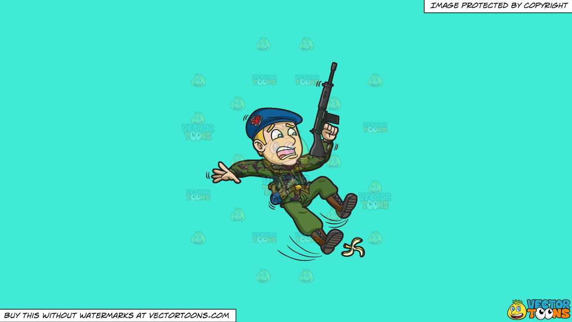 A Soldier Slipping On A Peel On A Solid Turquiose 41ead4 Background thumbnail