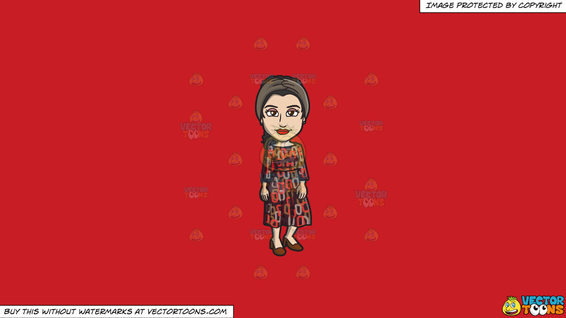 A Sophisticated Jewish Woman On A Solid Fire Engine Red C81d25 Background thumbnail