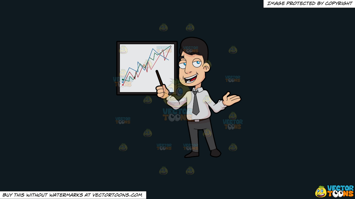 A Stockbroker Showing A Trade Chart On A Solid Off Black 0f1a20 Background thumbnail