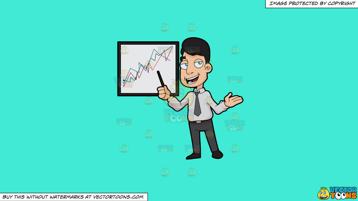A Stockbroker Showing A Trade Chart On A Solid Turquiose 41ead4 Background thumbnail