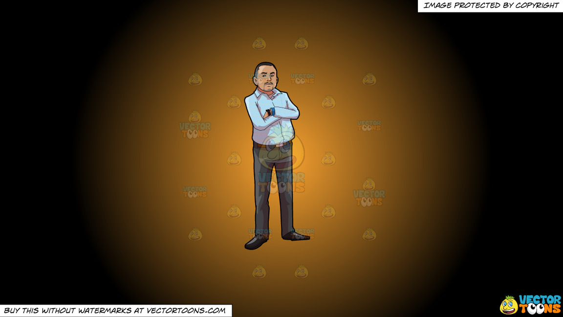 A Strict Boss Crossing His Arms On A Orange And Black Gradient Background thumbnail