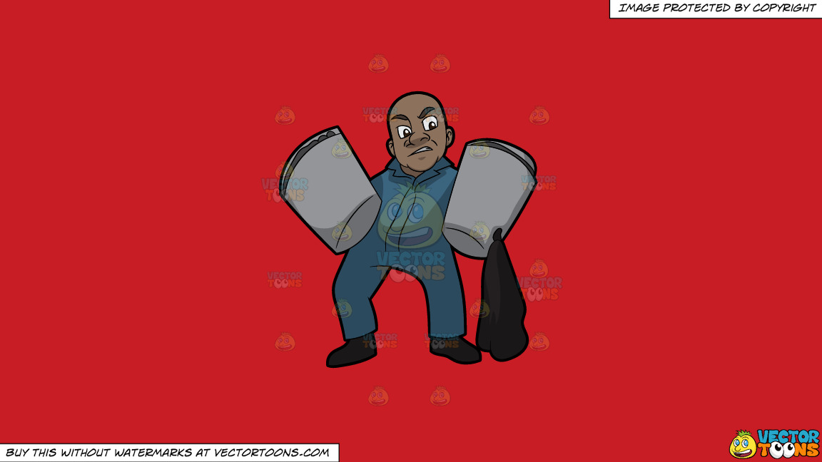 A Strong Black Male Sanitation Worker On A Solid Fire Engine Red C81d25 Background thumbnail