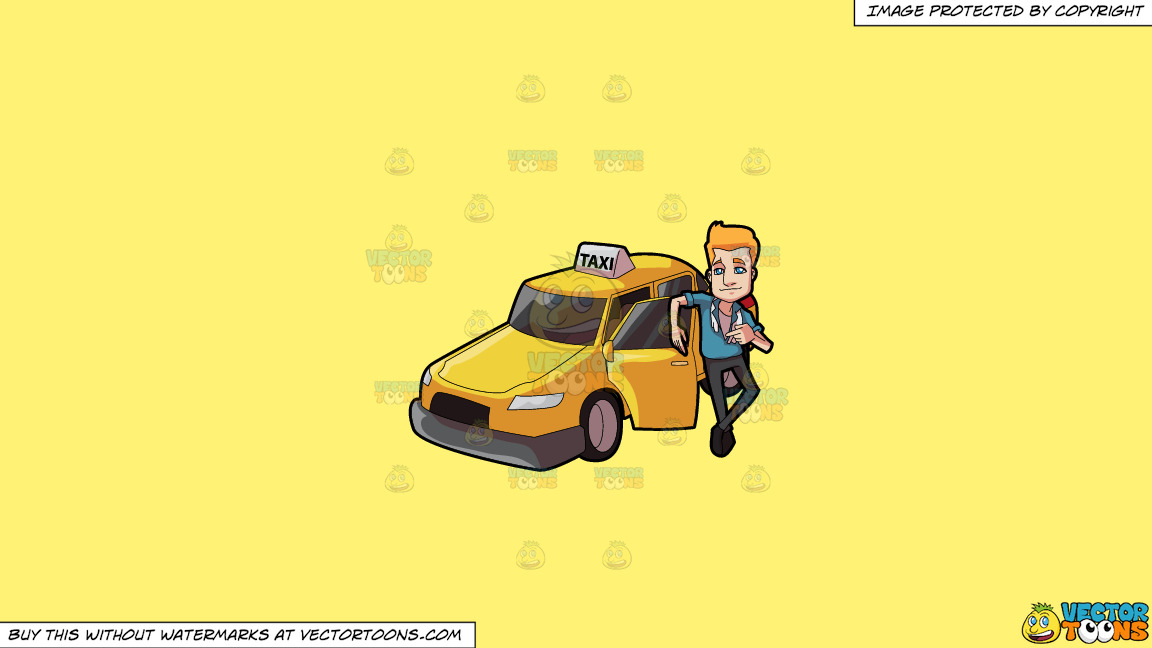 A Suave Taxi Driver On A Solid Sunny Yellow Fff275 Background thumbnail
