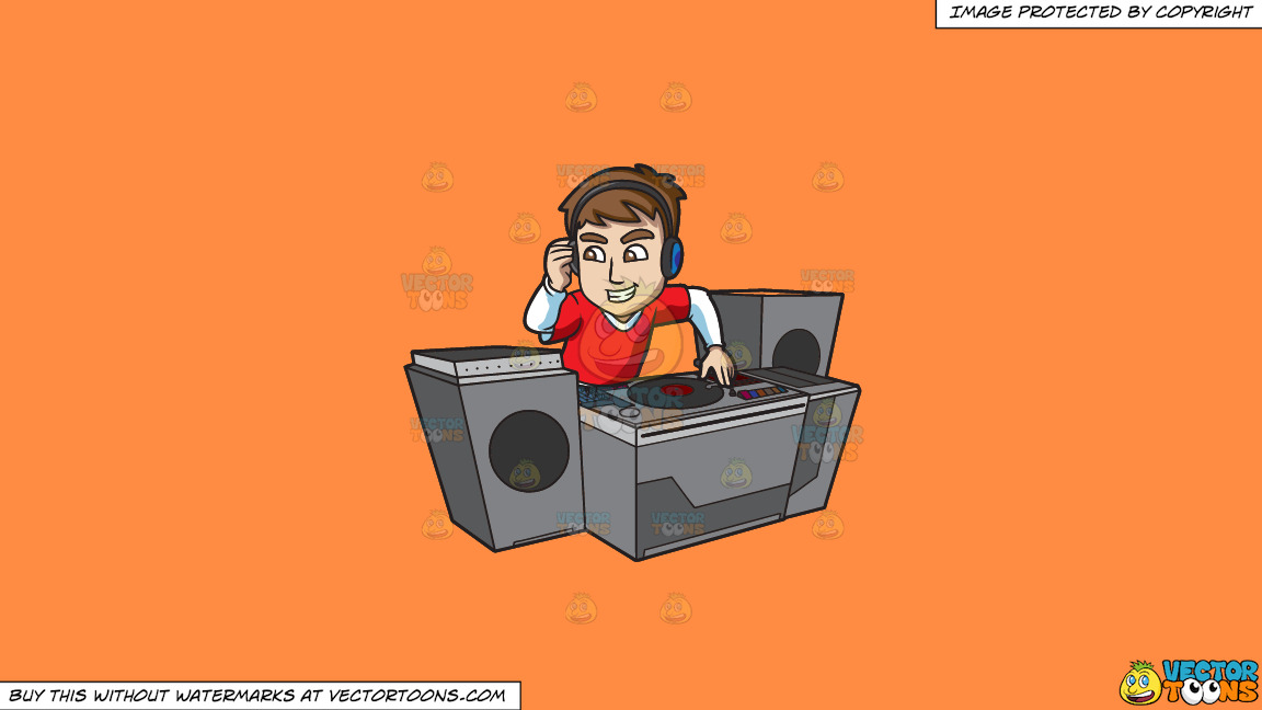 A Superstar Dj Mixing Records On A Solid Mango Orange Ff8c42 Background thumbnail
