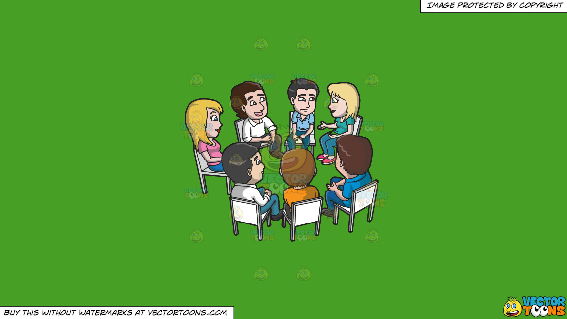 A Support Group Meeting And Discussion On A Solid Kelly Green 47a025 Background thumbnail