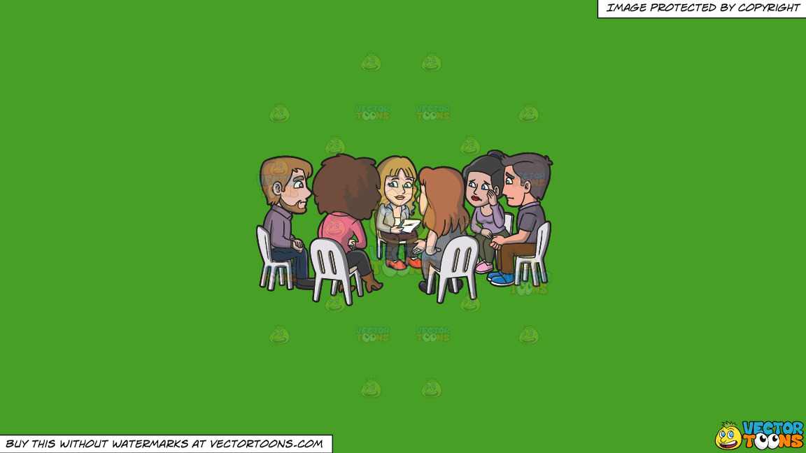A Support Group Session For Widowers On A Solid Kelly Green 47a025 Background thumbnail