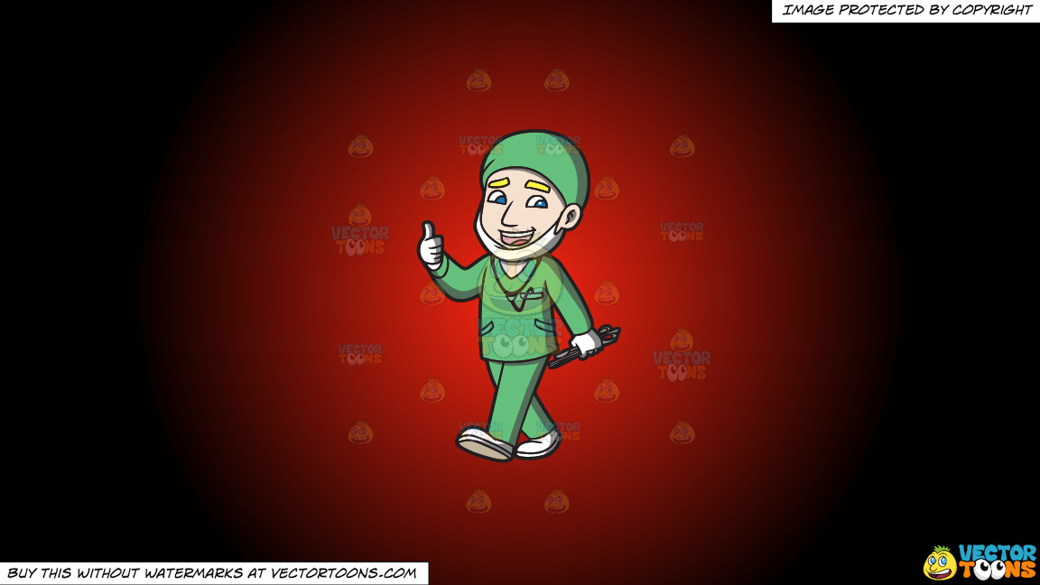 A Surgeon Happily Finishes An Operation On A Red And Black Gradient Background thumbnail