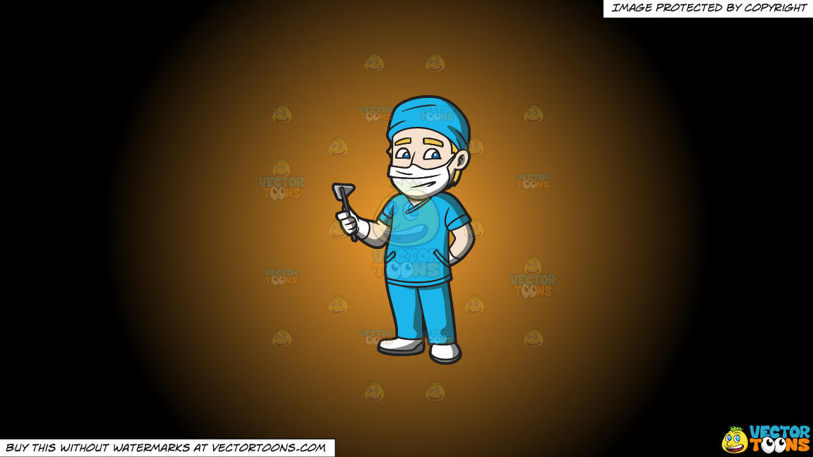 A Surgeon On Duty On A Orange And Black Gradient Background thumbnail