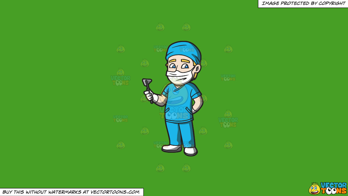 A Surgeon On Duty On A Solid Kelly Green 47a025 Background thumbnail
