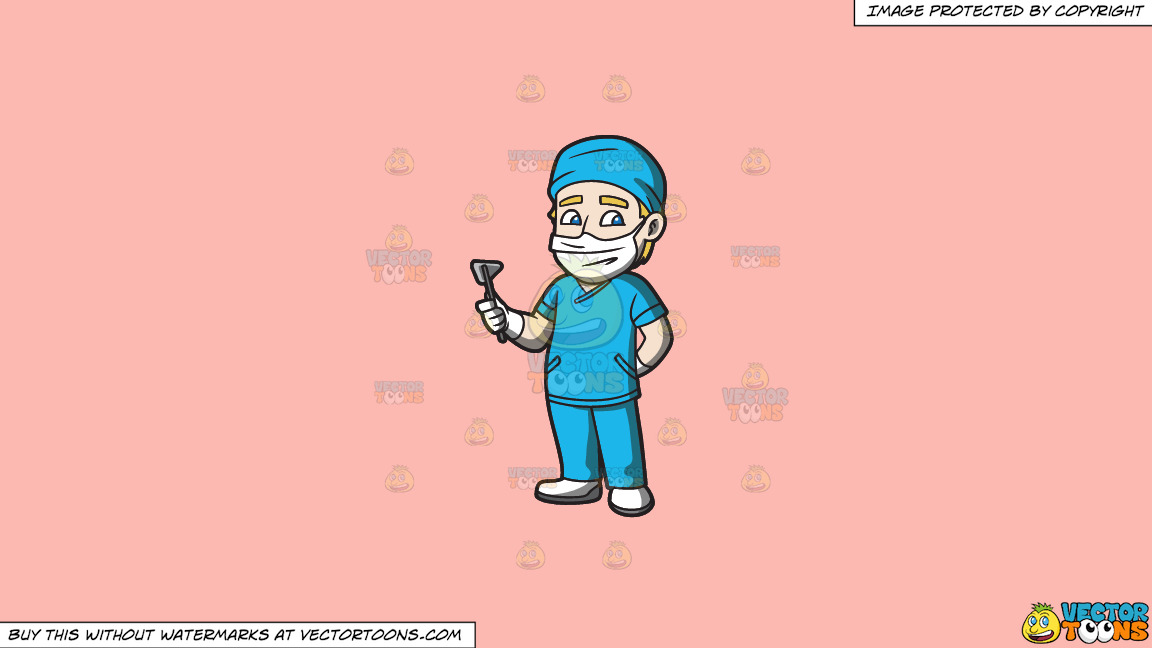 A Surgeon On Duty On A Solid Melon Fcb9b2 Background thumbnail