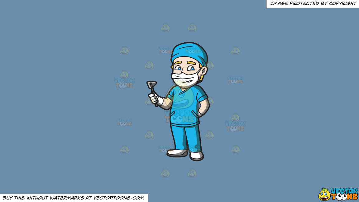 A Surgeon On Duty On A Solid Shadow Blue 6c8ead Background thumbnail