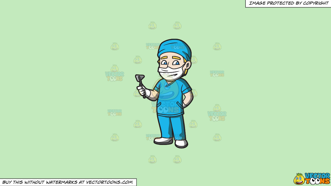 A Surgeon On Duty On A Solid Tea Green C2eabd Background thumbnail