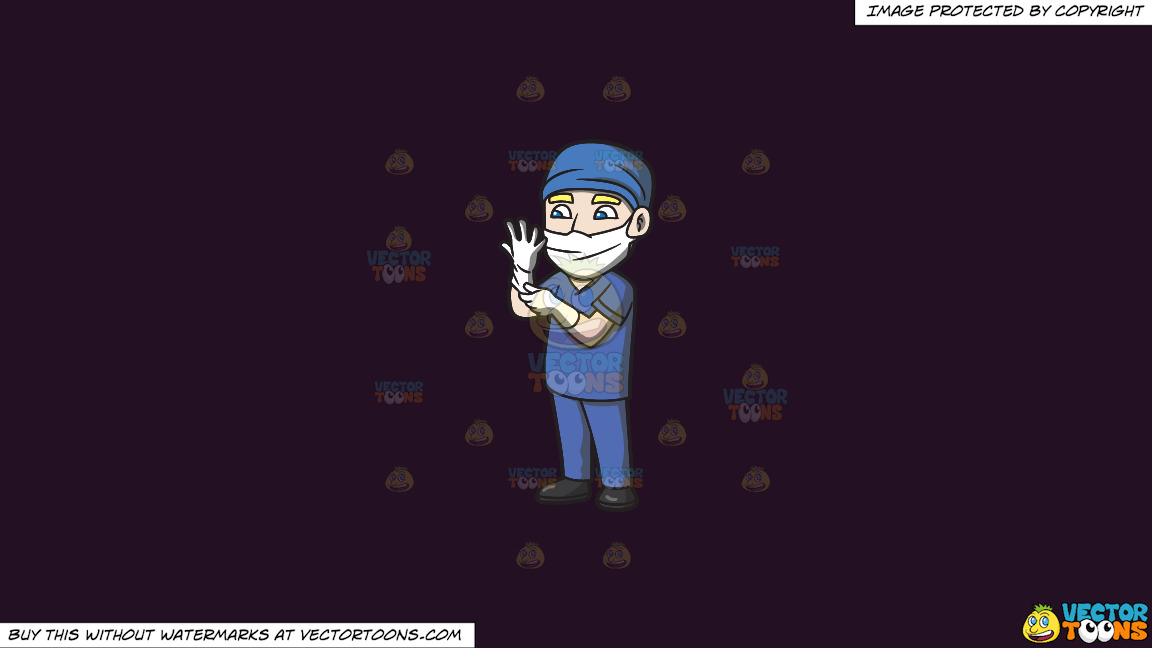 A Surgeon Wearing Gloves Before An Operation On A Solid Purple Rasin 241023 Background thumbnail