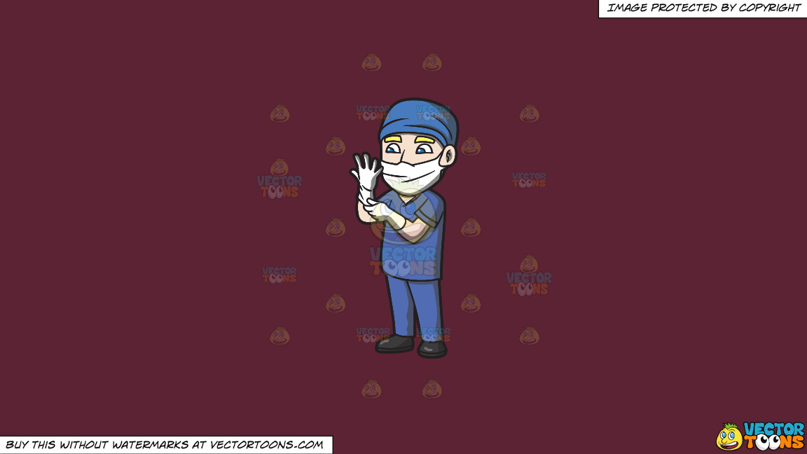 A Surgeon Wearing Gloves Before An Operation On A Solid Red Wine 5b2333 Background thumbnail