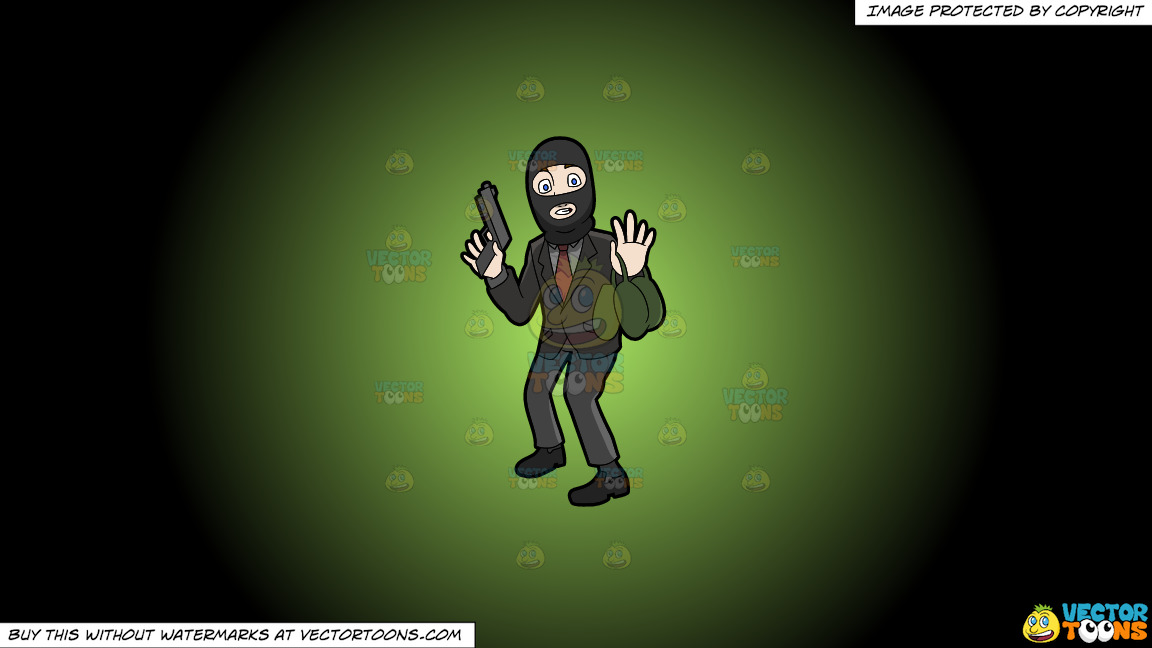 A Surprised Robber Being Caught In The Act On A Green And Black Gradient Background thumbnail