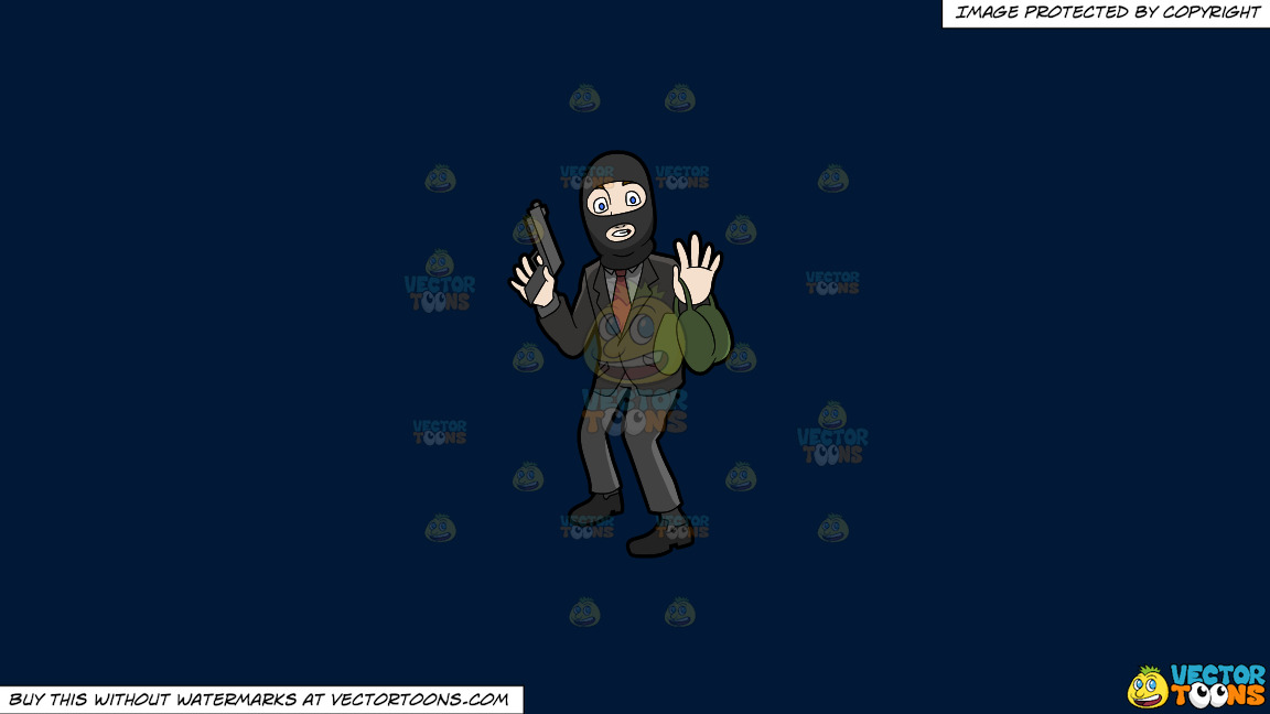 A Surprised Robber Being Caught In The Act On A Solid Dark Blue 011936 Background thumbnail
