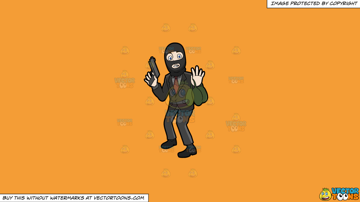 A Surprised Robber Being Caught In The Act On A Solid Deep Saffron Gold F49d37 Background thumbnail