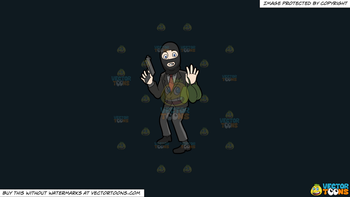 A Surprised Robber Being Caught In The Act On A Solid Off Black 0f1a20 Background thumbnail