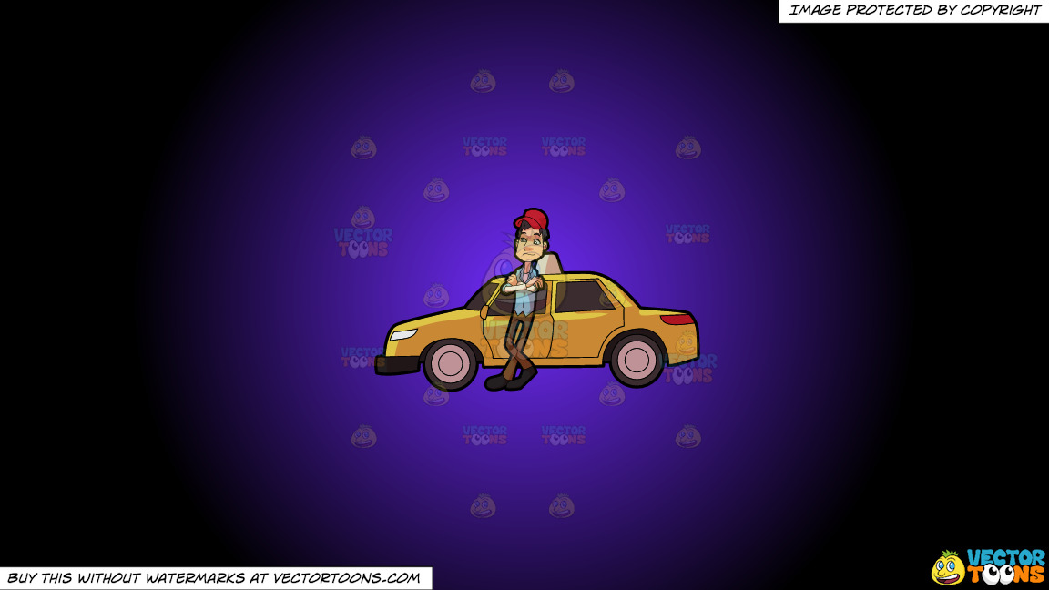 A Taxi Driver Waiting For A Passenger On A Purple And Black Gradient Background thumbnail