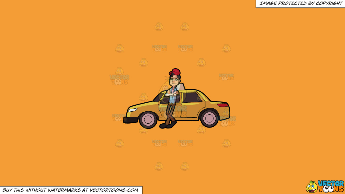 A Taxi Driver Waiting For A Passenger On A Solid Deep Saffron Gold F49d37 Background thumbnail
