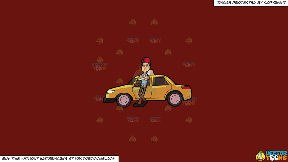 A Taxi Driver Waiting For A Passenger On A Solid Maroon 69140e Background thumbnail