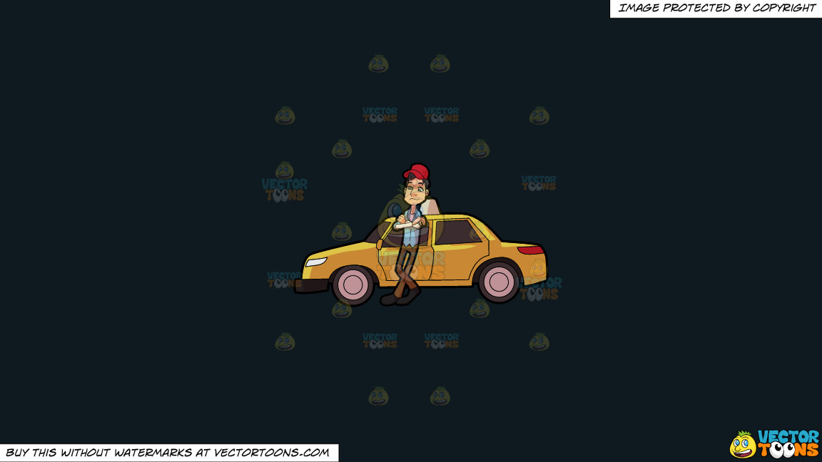 A Taxi Driver Waiting For A Passenger On A Solid Off Black 0f1a20 Background thumbnail