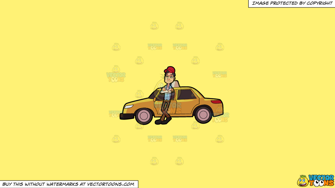 A Taxi Driver Waiting For A Passenger On A Solid Sunny Yellow Fff275 Background thumbnail