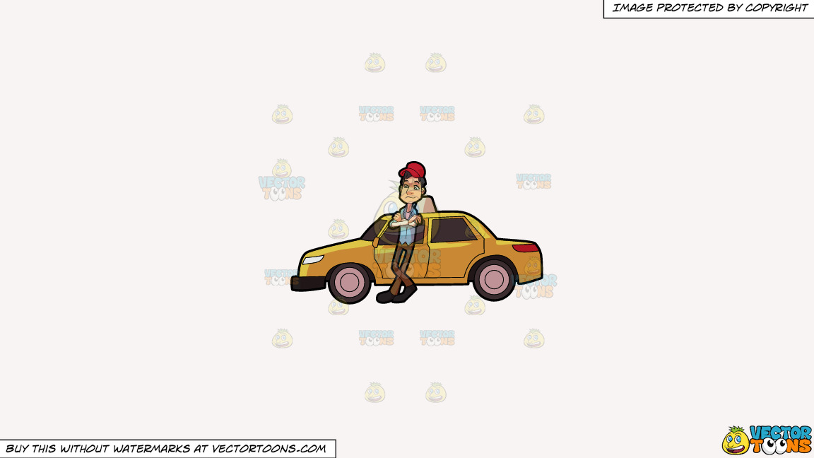 A Taxi Driver Waiting For A Passenger On A Solid White Smoke F7f4f3 Background thumbnail
