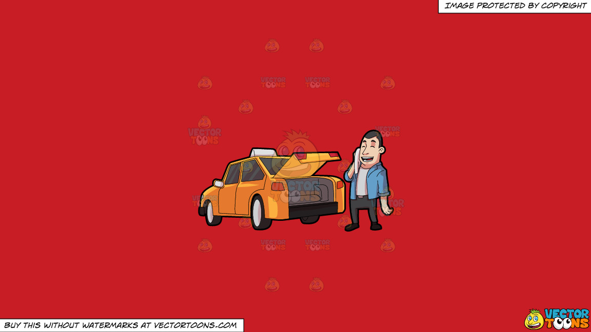 A Taxi Driver Wiping Off His Sweat On A Solid Fire Engine Red C81d25 Background thumbnail