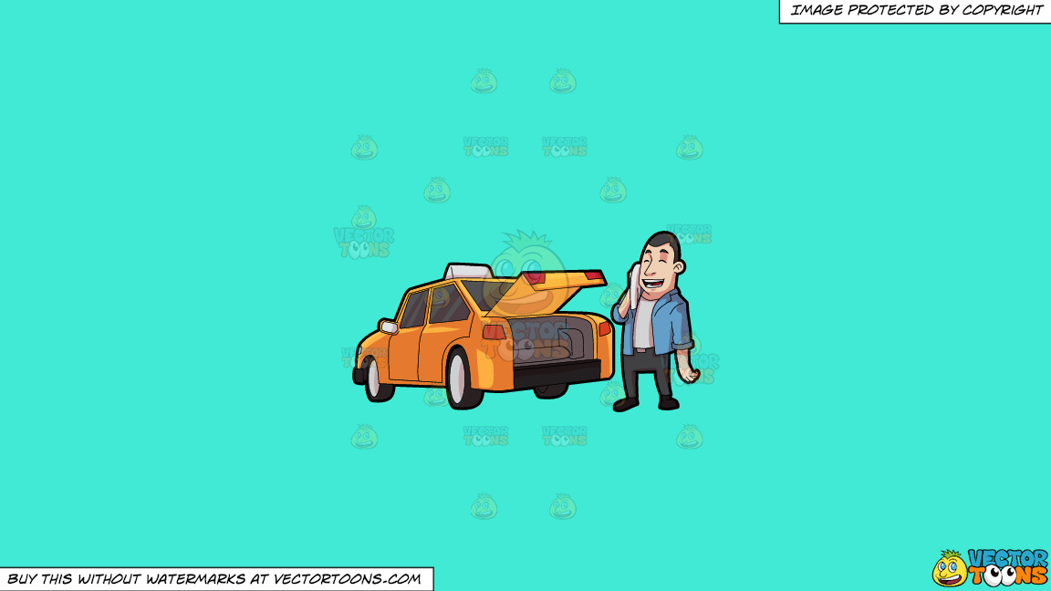 A Taxi Driver Wiping Off His Sweat On A Solid Turquiose 41ead4 Background thumbnail