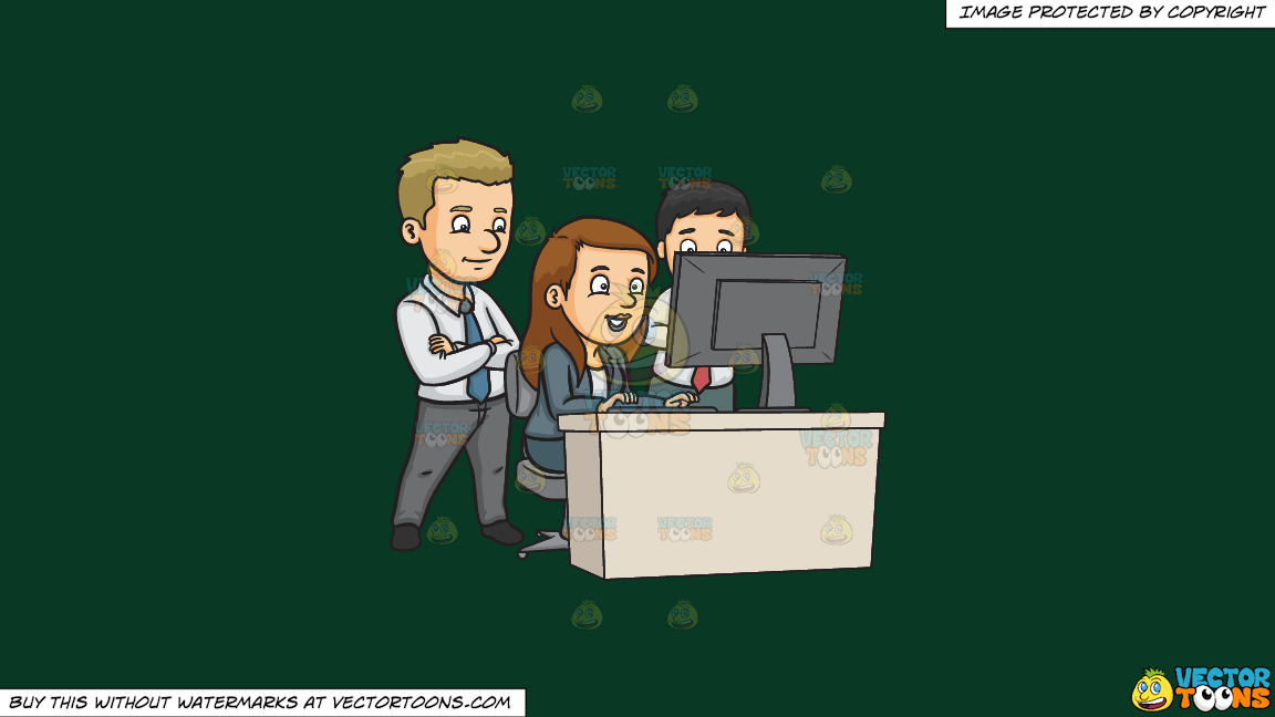 A Team Of Workers At The Office On A Solid Dark Green 093824 Background thumbnail