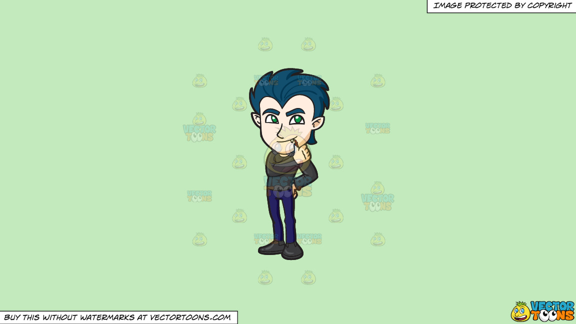 A Teen Vampire On A Solid Tea Green C2eabd Background thumbnail