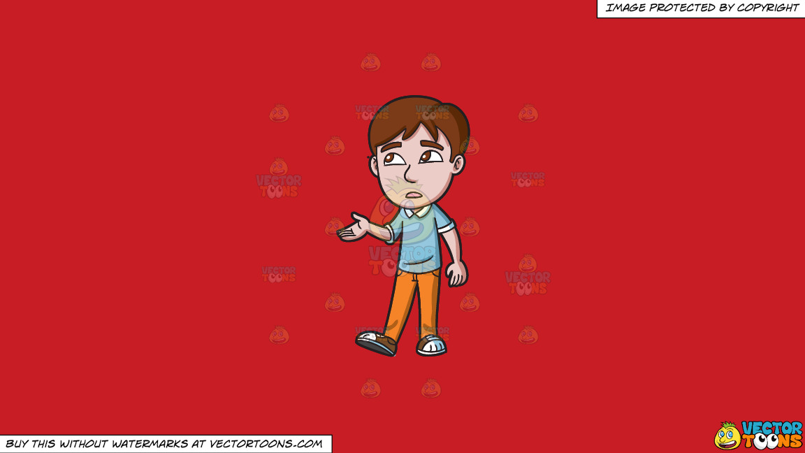 A Teenage Boy Checking For Rain On A Solid Fire Engine Red C81d25 Background thumbnail