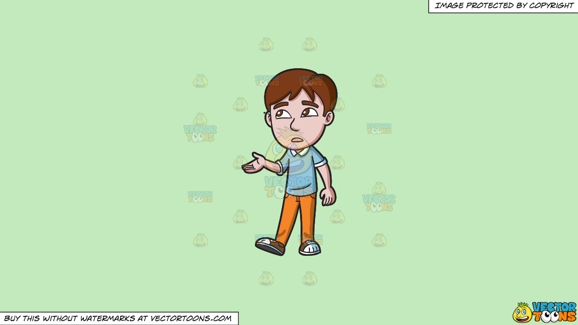 A Teenage Boy Checking For Rain On A Solid Tea Green C2eabd Background thumbnail