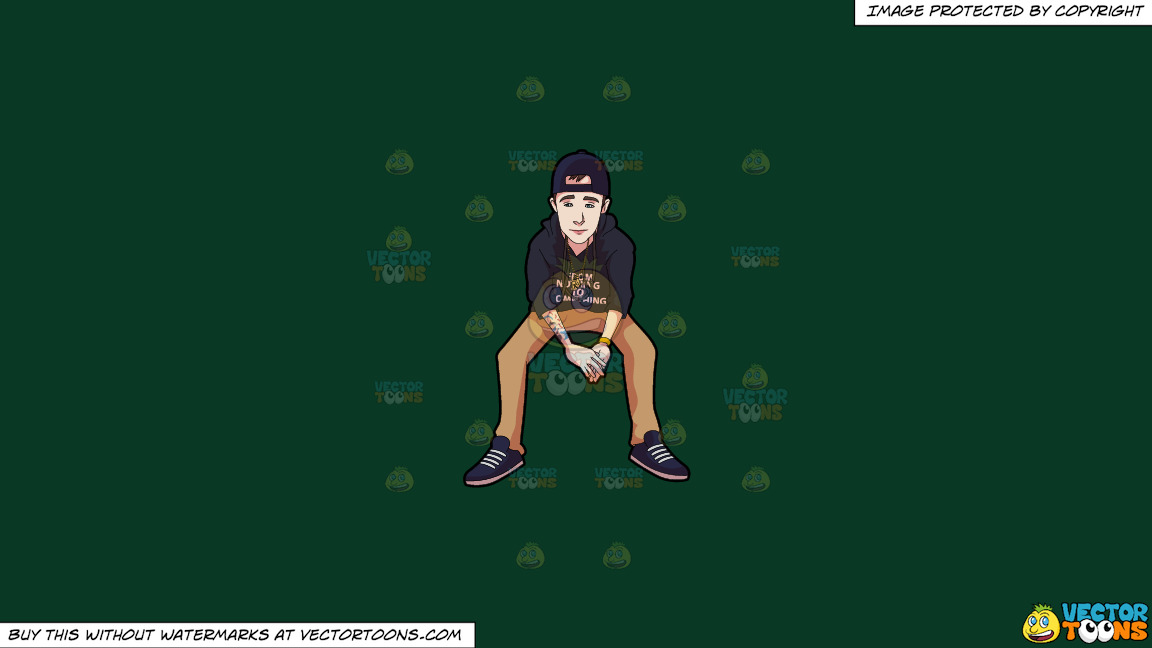 A Teenage Boy With Tattoos On A Solid Dark Green 093824 Background thumbnail