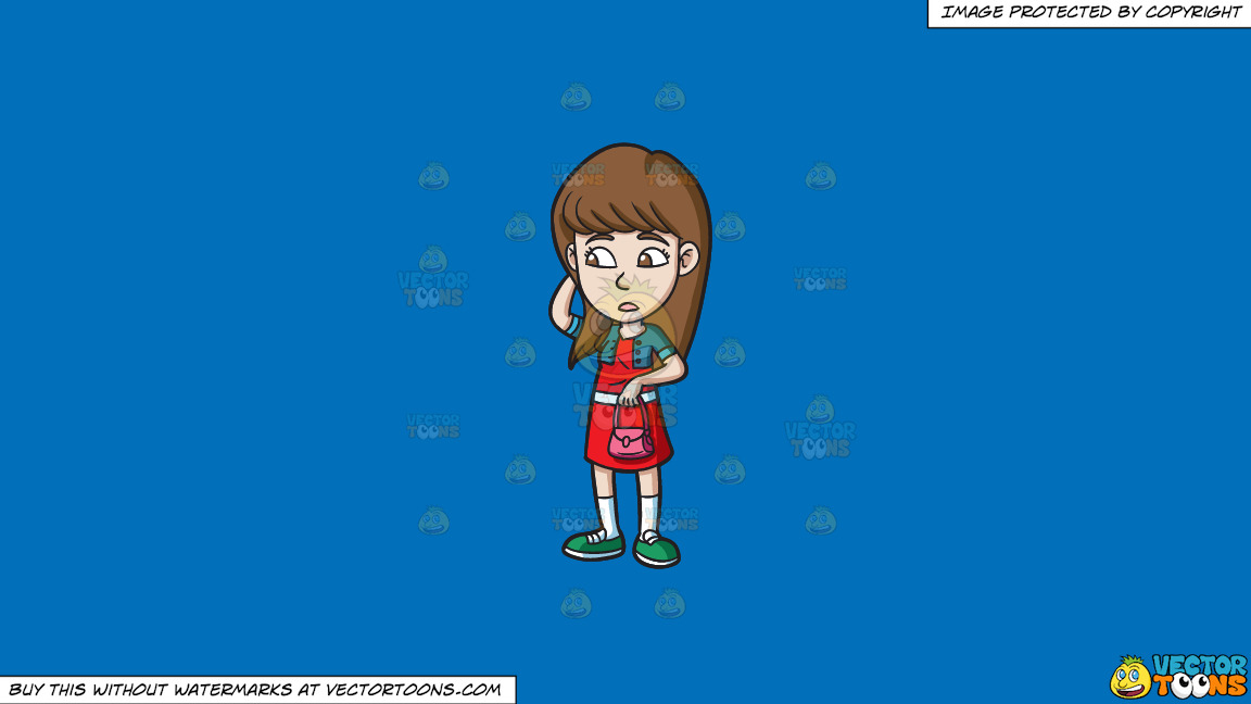 A Teenage Girl Looking Clueless On A Solid Spanish Blue 016fb9 Background thumbnail