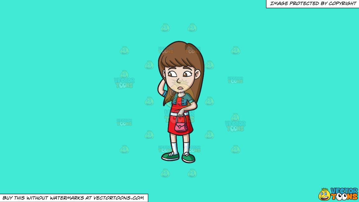 A Teenage Girl Looking Clueless On A Solid Turquiose 41ead4 Background thumbnail