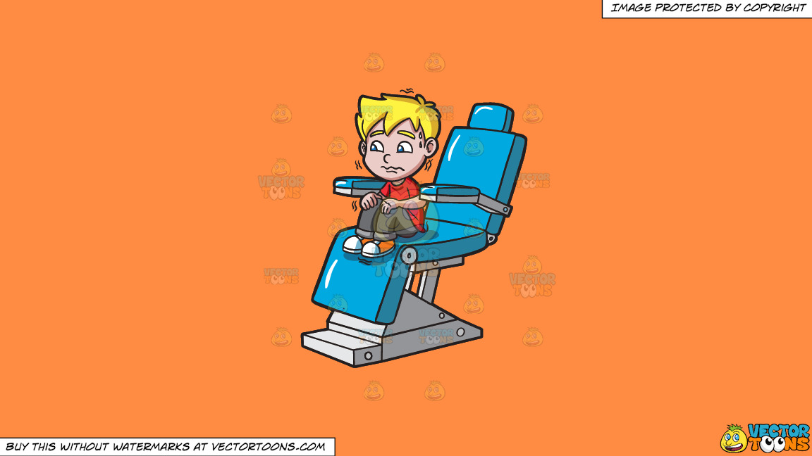 A Terrified Kid At The Dentist On A Solid Mango Orange Ff8c42 Background thumbnail