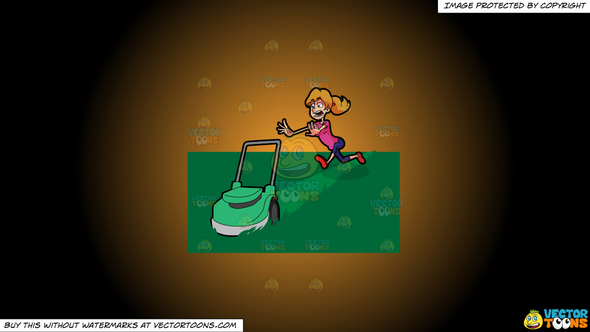 A Terrified Woman Running After A Lawn Mower On A Orange And Black Gradient Background thumbnail